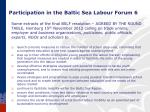 participation in the baltic sea labour forum 6