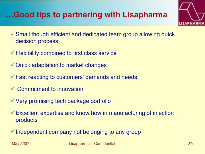 …Good tips to partnering with Lisapharma