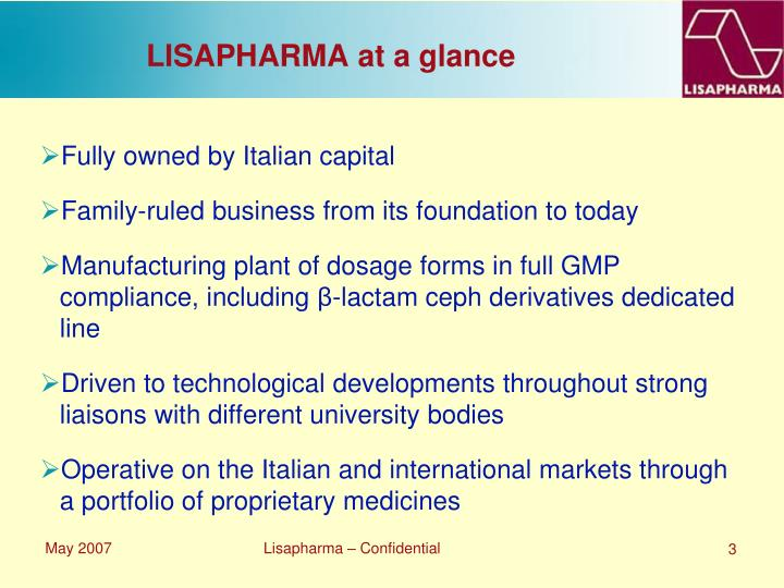 Lisapharma at a glance