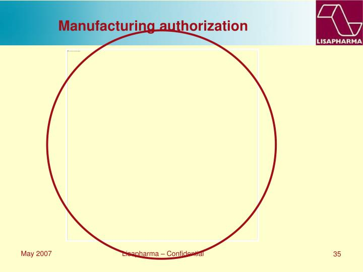 Manufacturing authorization