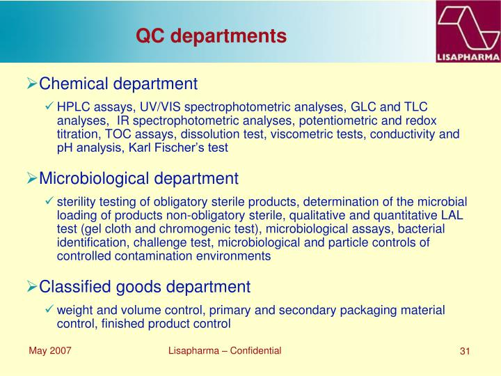 QC departments
