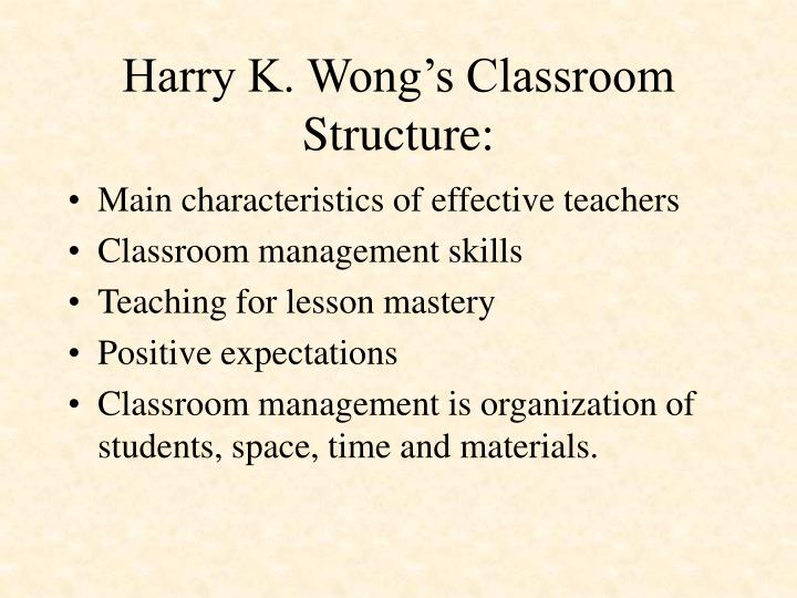 Harry K. Wong's Classroom Structure: