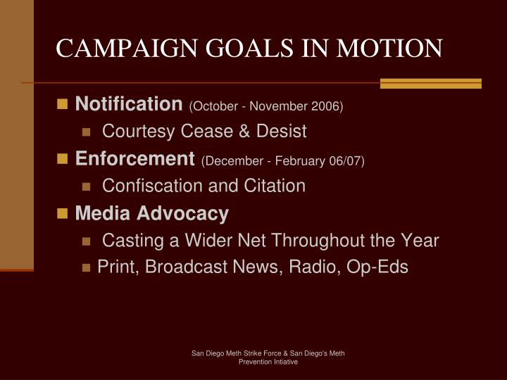 CAMPAIGN GOALS IN MOTION
