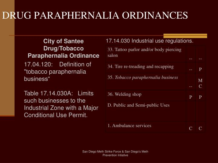 DRUG PARAPHERNALIA ORDINANCES