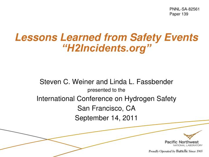lessons learned from safety events h2incidents org n.