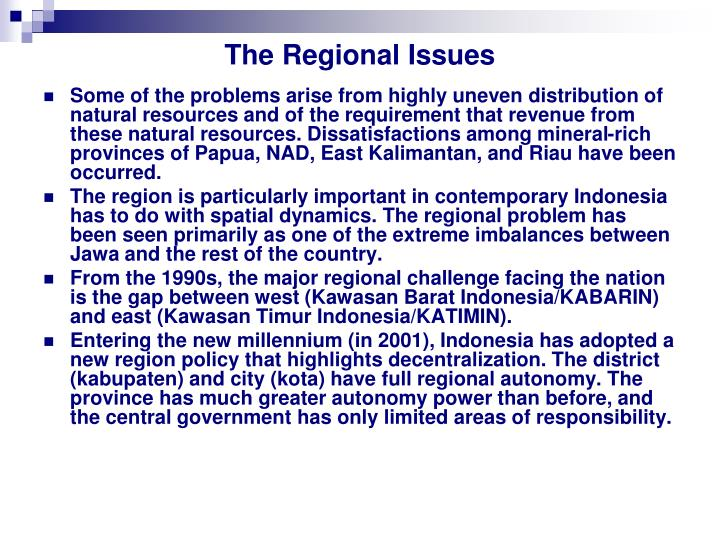 The Regional Issues