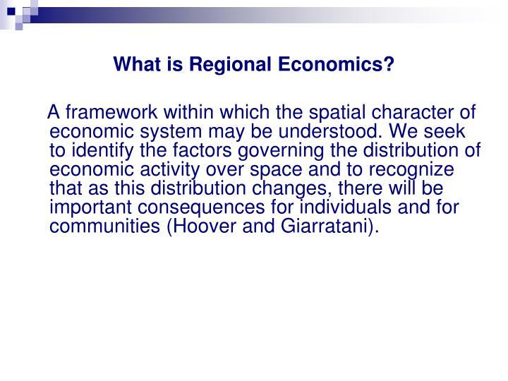 What is regional economics