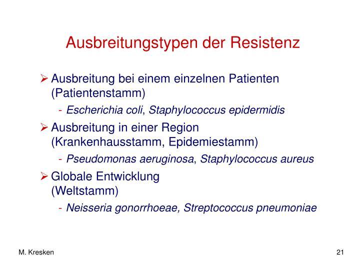 Ausbreitungstypen der Resistenz