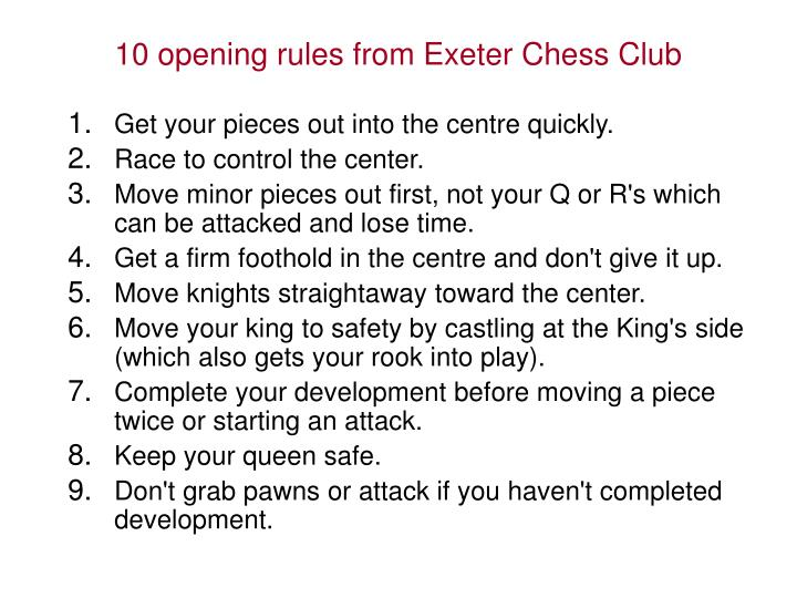 10 opening rules from Exeter Chess Club