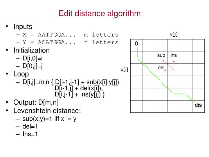 Edit distance algorithm