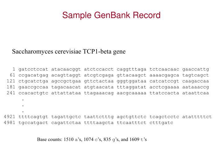 Sample GenBank Record