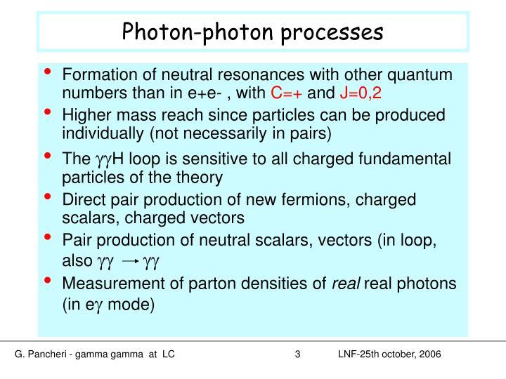 Photon photon processes