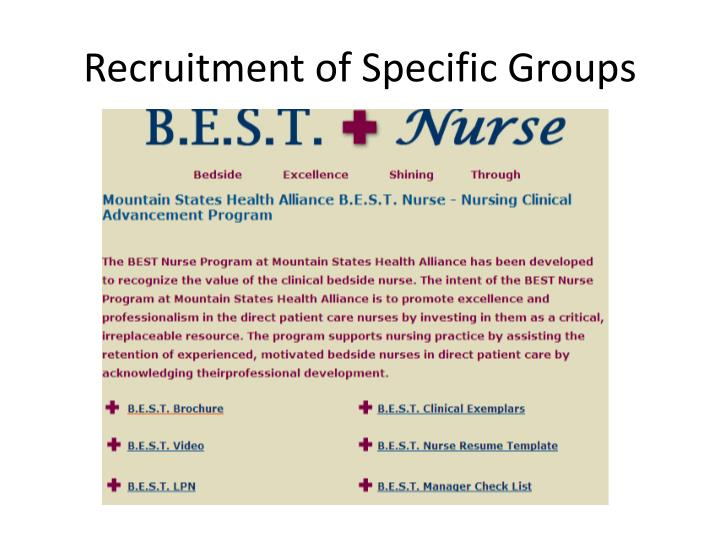 Recruitment of Specific Groups