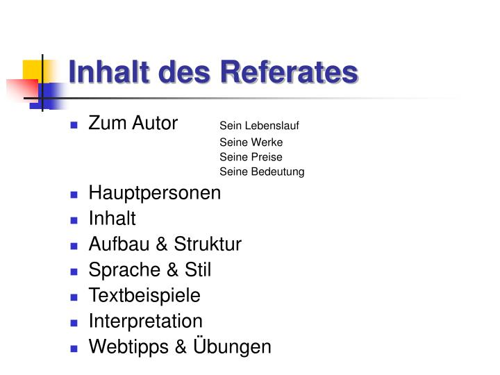 Inhalt des referates