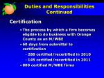 duties and responsibilities continued