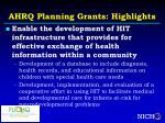 ahrq planning grants highlights