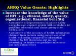 ahrq value grants highlights