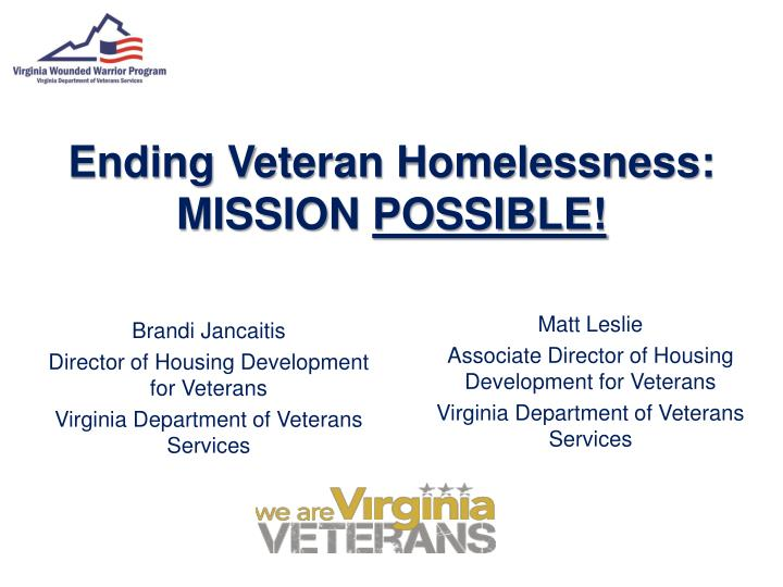 Ending veteran homelessness mission possible