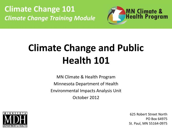 climate change and public health 101 n.