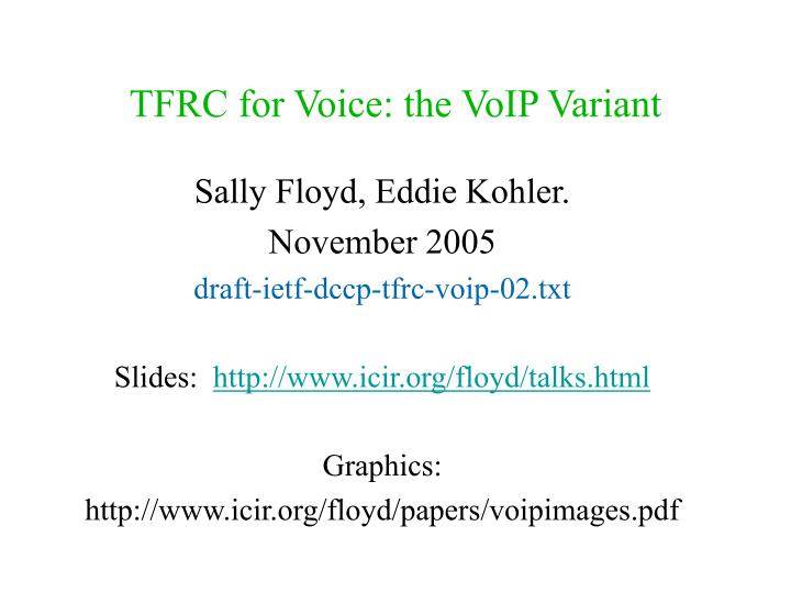 Tfrc for voice the voip variant