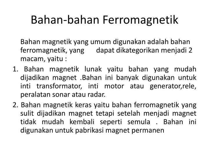 Bahan bahan ferromagnetik