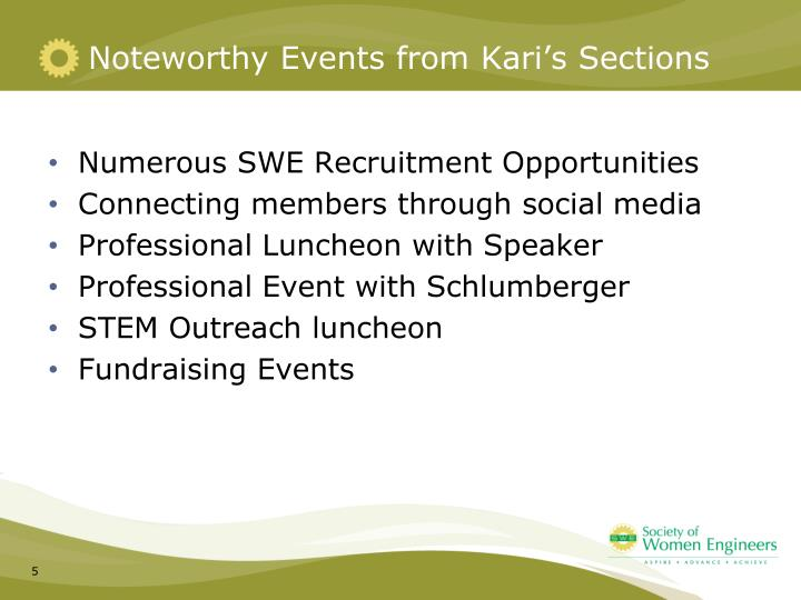 Noteworthy Events from Kari's Sections