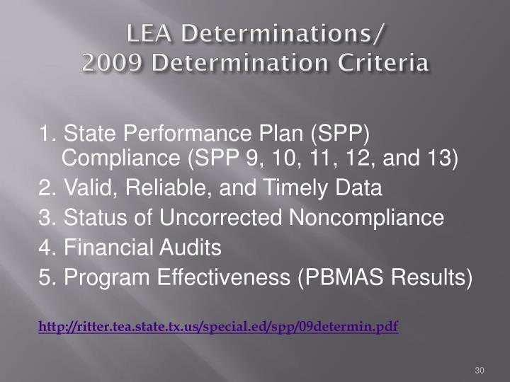 LEA Determinations/