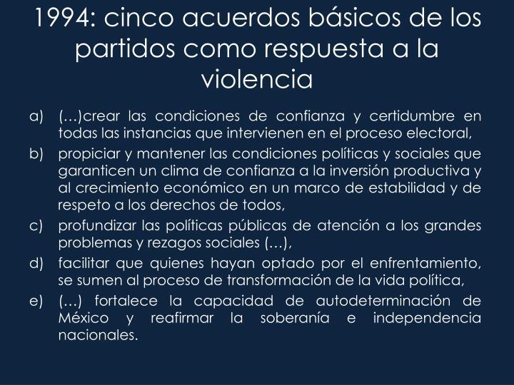 1994: cinco acuerdos básicos de los partidos como respuesta a la violencia