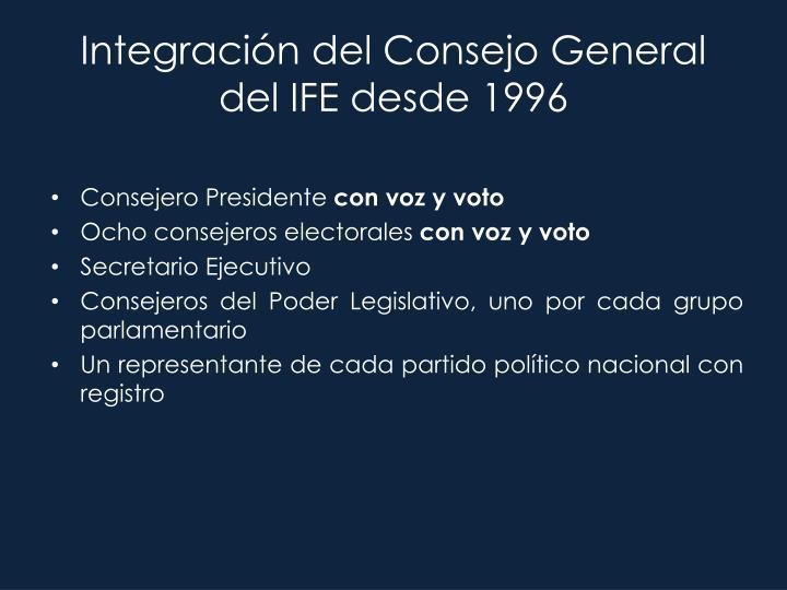 Integración del Consejo General del IFE desde 1996