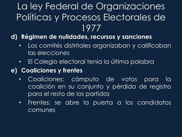 La ley Federal de Organizaciones Políticas y Procesos Electorales de 1977