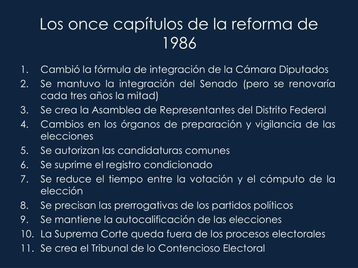 Los once capítulos de la reforma de 1986