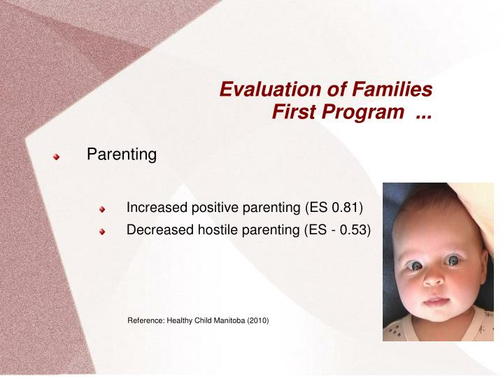 Evaluation of families first program