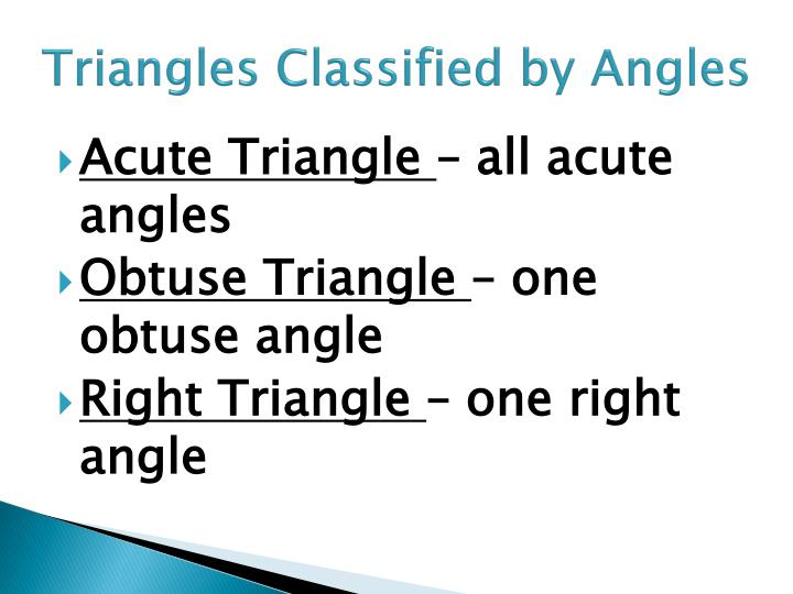 Triangles Classified by Angles