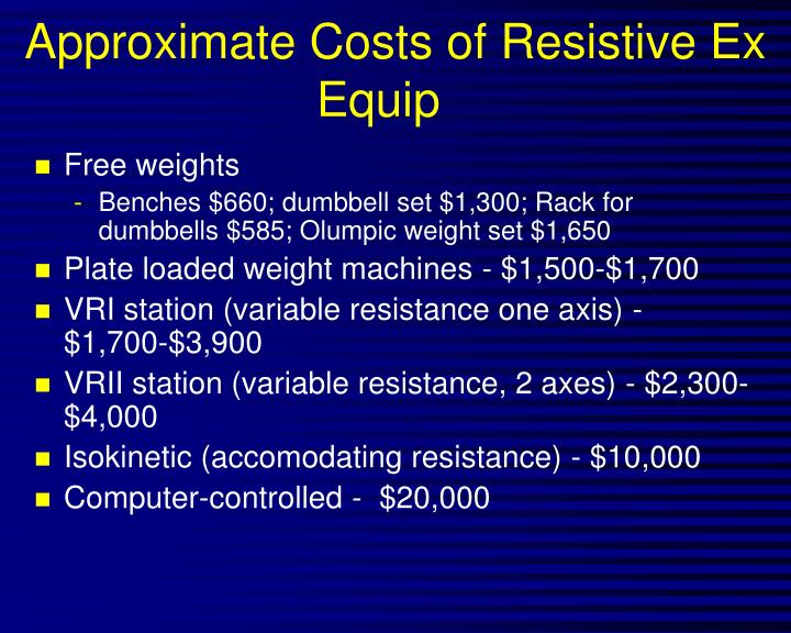 Approximate Costs of Resistive Ex Equip