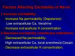 factors affecting excitability of nerve