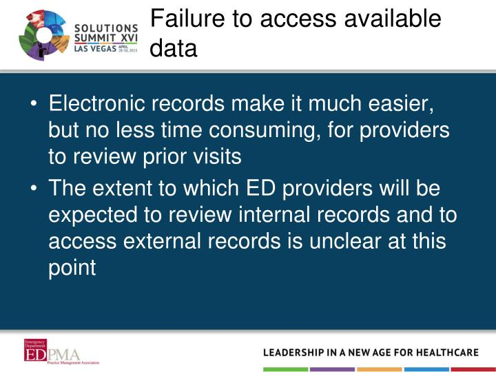 Failure to access available data