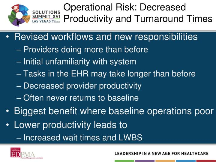 Operational Risk: Decreased Productivity and Turnaround Times