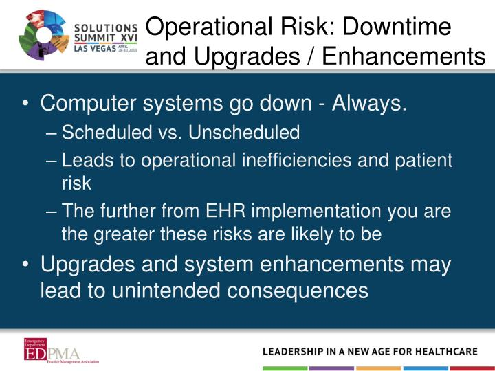Operational Risk: Downtime and Upgrades / Enhancements