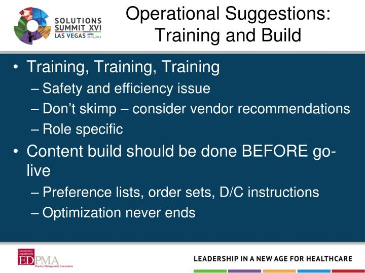 Operational Suggestions: