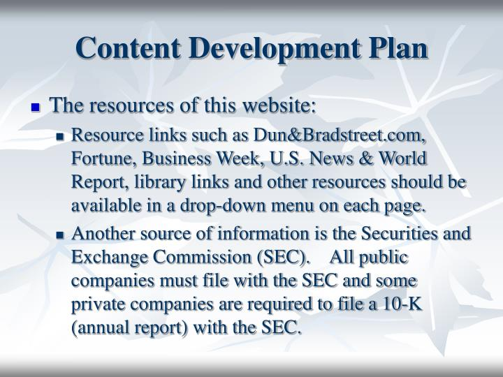Content Development Plan