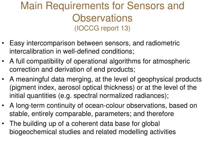 Main Requirements for Sensors and Observations