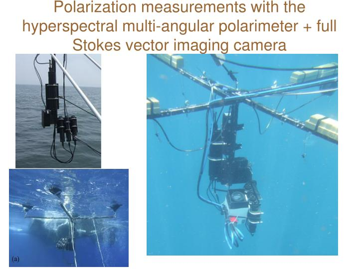 Polarization measurements with the hyperspectral multi-angular polarimeter + full Stokes vector imaging camera
