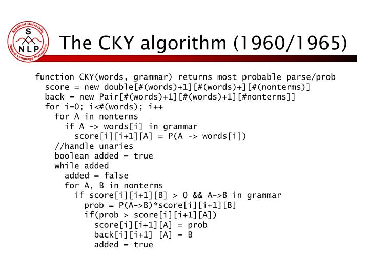 The CKY algorithm (1960/1965)