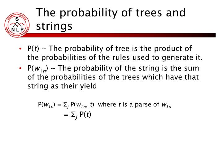 The probability of trees and strings