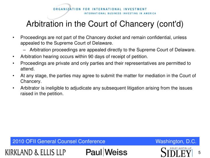 Arbitration in the Court of Chancery (cont'd)
