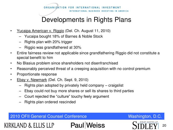 Developments in Rights Plans