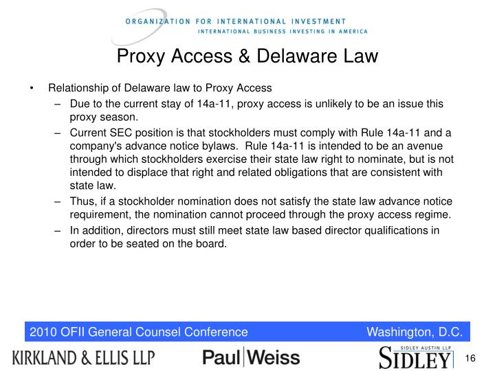 Proxy Access & Delaware Law