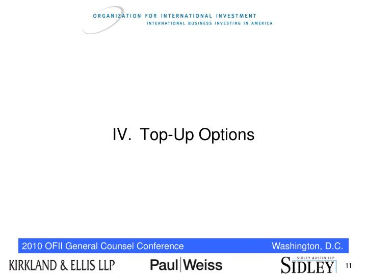 IV.Top-Up Options