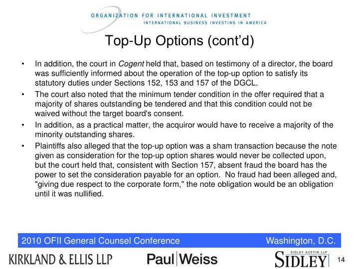 Top-Up Options (cont'd)