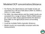modeled dcp concentration distance